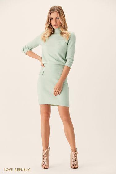 Трикотажная юбка мятного цвета склапанами напуговицах 0151156228