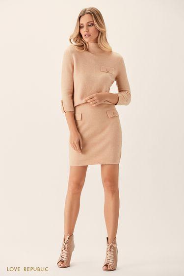 Трикотажная юбка бежевого цвета склапанами напуговицах 0151156228