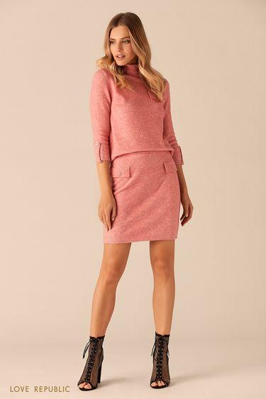 Трикотажный свитер розового цвета с высоким воротником 0151156840
