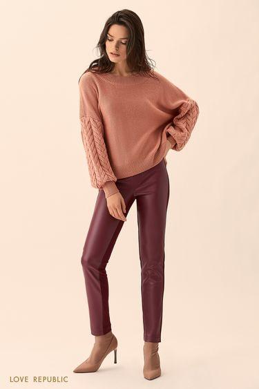 Джемпер розового цвета с фактурной вязкой на рукавах 01511600845