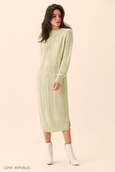 Длинное мятное платье фактурной вязки 01511610535