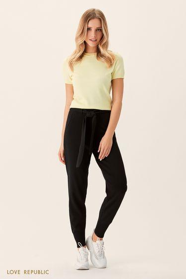 Чёрные брюки из мягкой ткани с поясом 0151168748