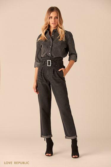 Черные джинсы с поясом  0151193726