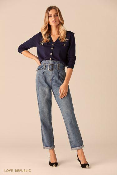 Синие джинсы с поясом  0151195726
