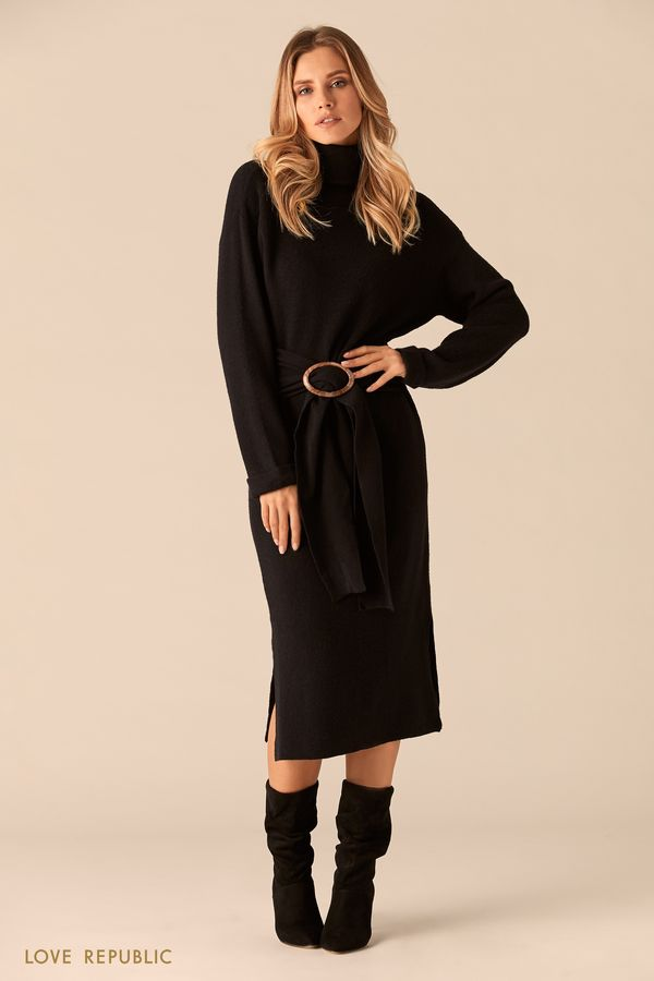 Трикотажное платье чёрного цвета с мягким поясом 0151137521-50