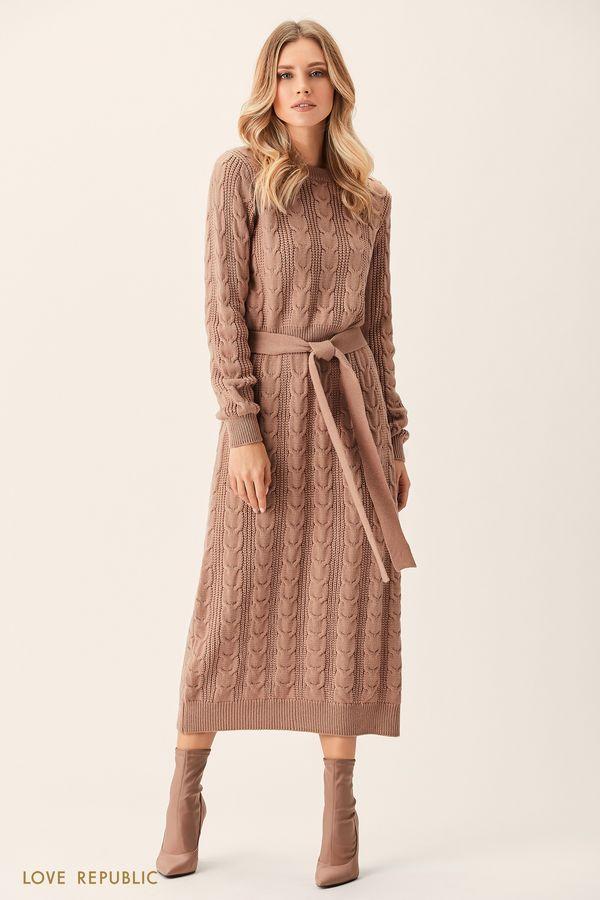 Платье макси бежевого цвета фактурной вязки 0151141523-62