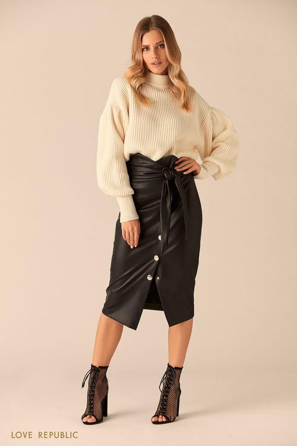 Вязаный свитер кремового цвета с высоким воротником 0151146832-61
