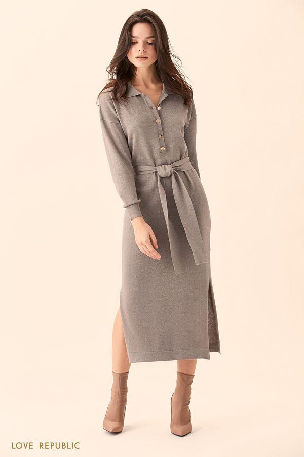 Длинное платье-рубашка светло-серого цвета с поясом 01511520529-32