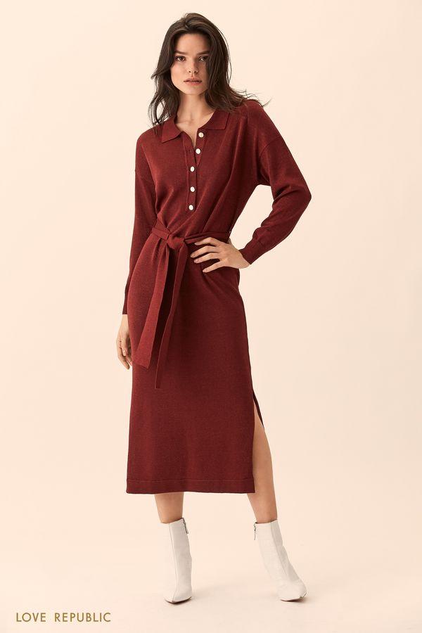 Длинное платье-рубашка красного цвета с поясом 01511520529-76