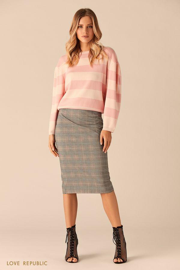 Широкий джемпер с полосами розового цвета 0151155829-90
