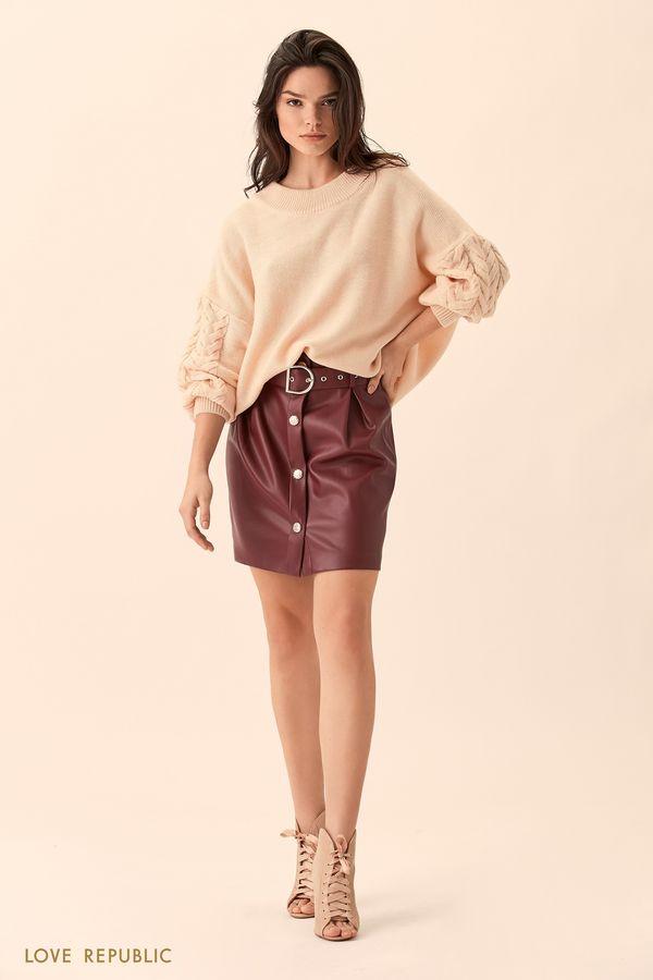 Джемпер кремового цвета с фактурной вязкой на рукавах 01511600845-61