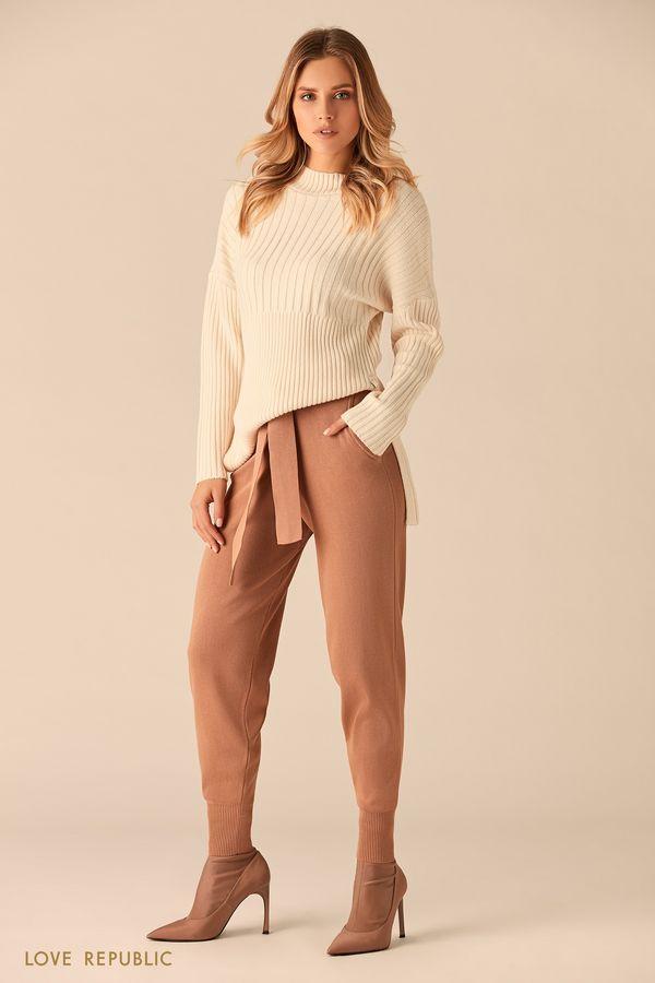Бежевые брюки из мягкой ткани с поясом 0151168748-62