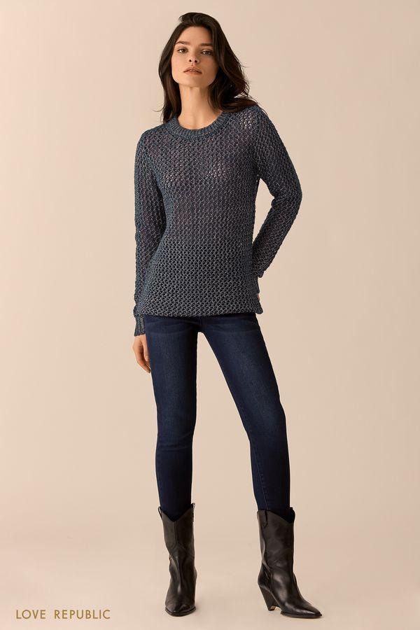 Эластичные тёмно-синие джинсы 0151192727-47