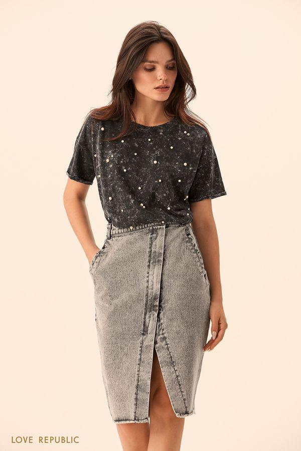Джинсовая юбка на запахе цвета серый меланж 0151194225-38