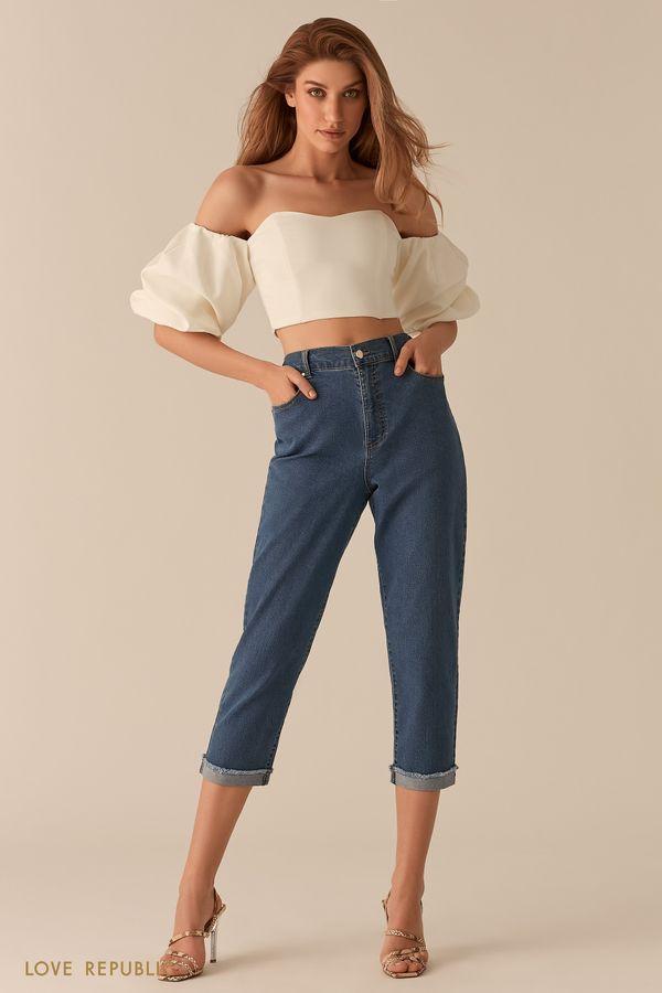Укороченные джинсы с подворотами 0151199729-40