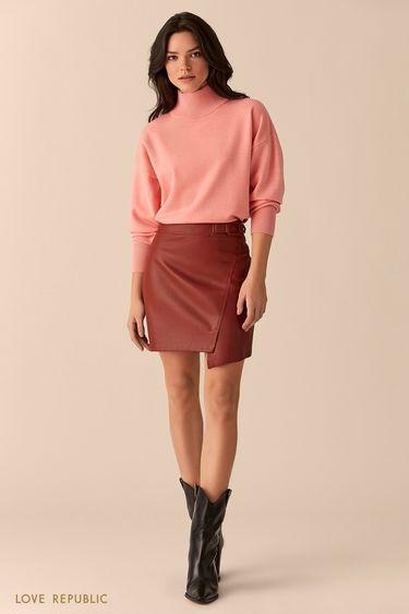 Вишневая мини-юбка с асимметрией 01513110201
