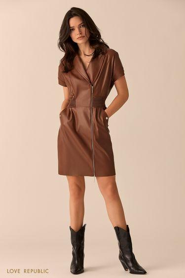 Мини-платье кирпичного цвета с косой молнией 01513110508