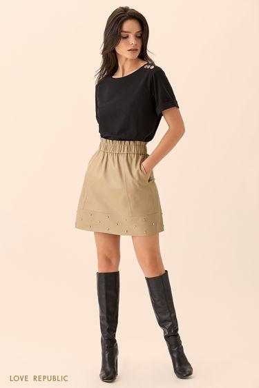 Короткая юбка цвета хаки с эластичным поясом  01513130202