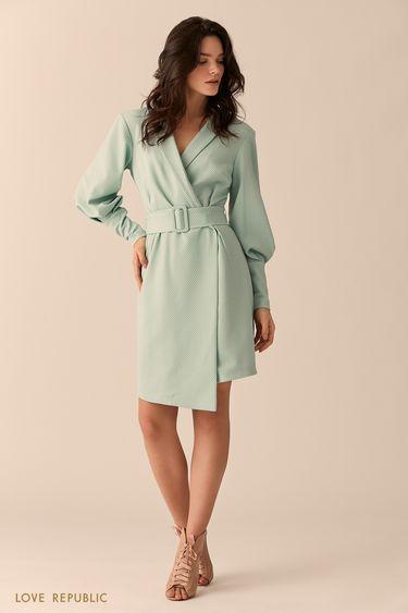 Мини-платье мятного цвета с поясом 0151315505