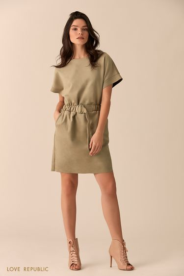 Платье цвета хаки с короткими широкими рукавами 0151320501
