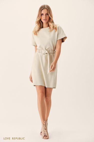 Платье цвета слоновой кости с короткими широкими рукавами 0151320501