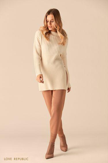 Длинный свитер из трикотажа в рубчик 0151381801