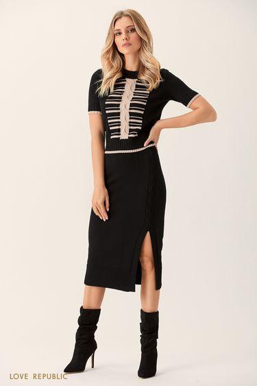 Трикотажная юбка чёрного цвета с разрезом 0151383203