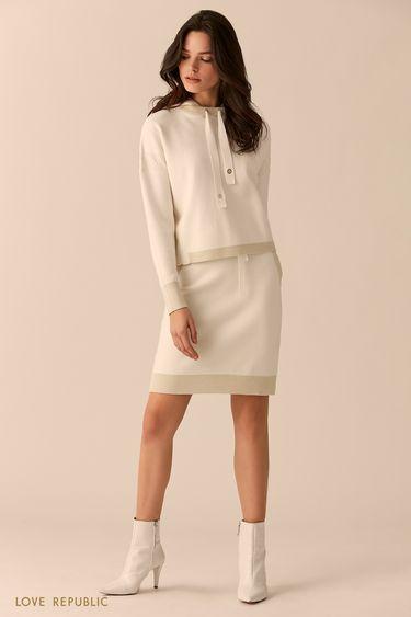 Короткая трикотажная юбка с блестящей отделкой 0151390204