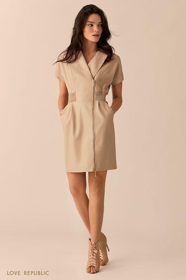 Мини-платье кремового цвета с косой молнией 01513110508-61
