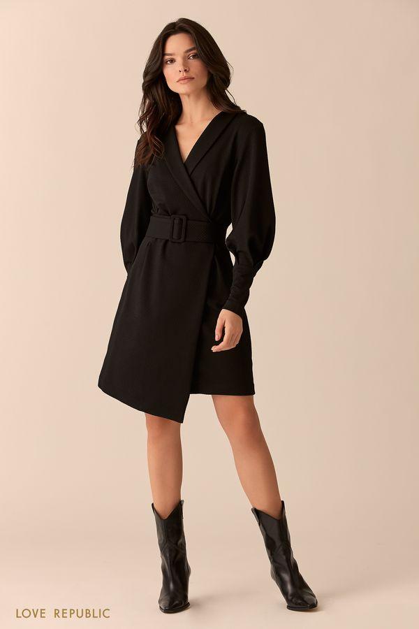 Мини-платье чёрного цвета с поясом 0151315505-50