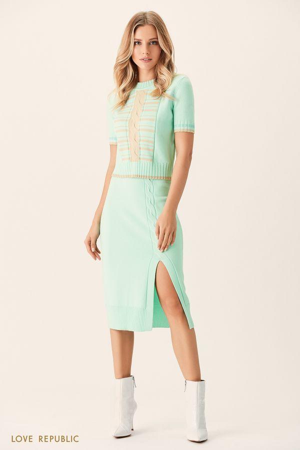 Трикотажная юбка мятного цвета с разрезом 0151383203-19