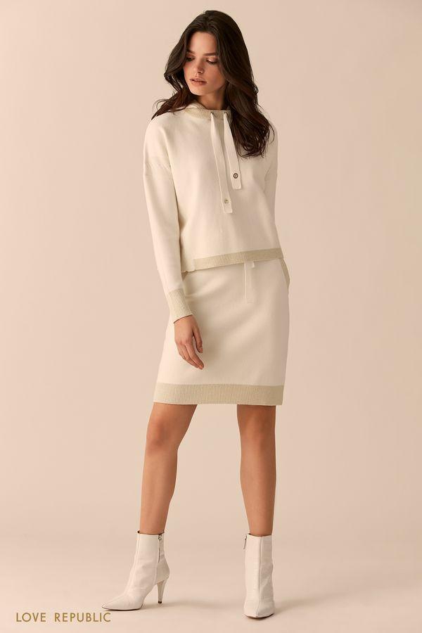 Короткая трикотажная юбка с блестящей отделкой 0151390204-60