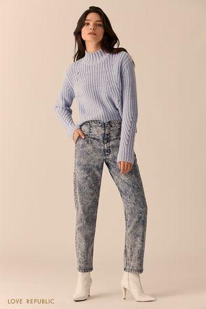 Хлопковые джинсы цвета голубой индиго с высокой талией фото