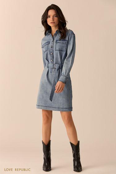 Джинсовое платье-рубашка цвета голубой индиго 0151441507