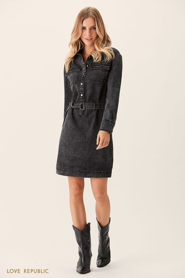 Джинсовое платье-рубашка чёрного цвета 0151441507