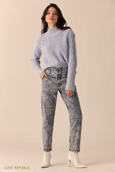 Хлопковые джинсы цвета голубой индиго с высокой талией 0151442711