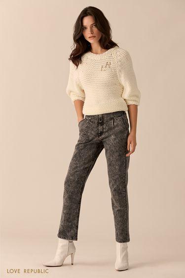 Хлопковые джинсы чёрного цвета с высокой талией 0151442711