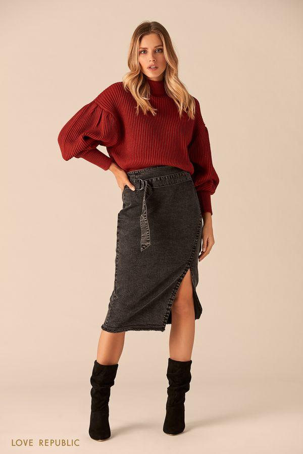 Джинсовая юбка миди с разрезом и поясом 0151441205-50