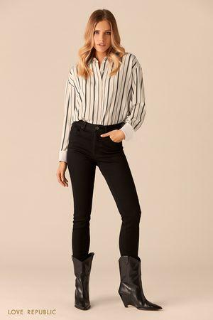 Рубашка с принтом из полос и контрастными манжетами фото