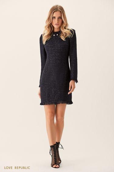 Приталенное платье-футляр из твида 0151562551