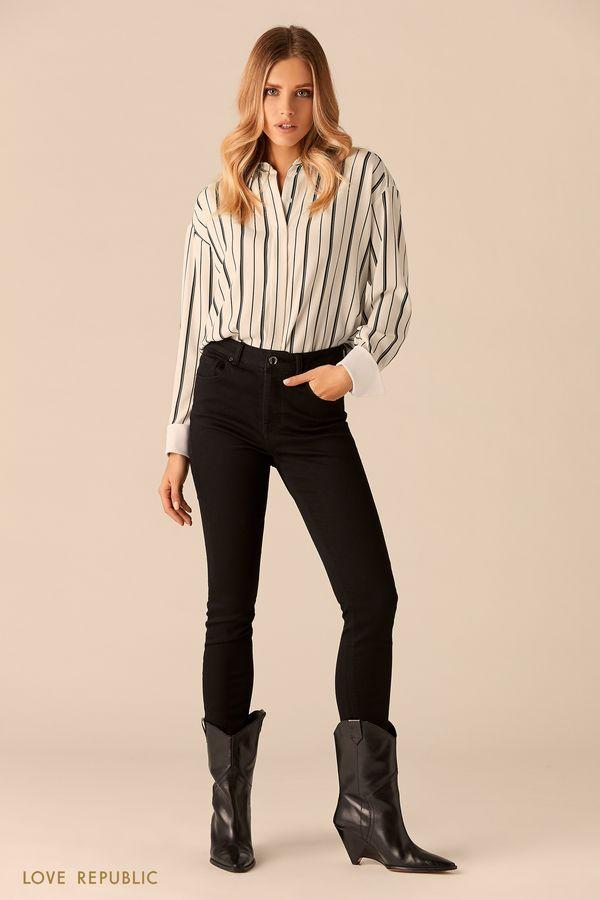 Блузка с принтом из полос и контрастными манжетами 0151501340-1
