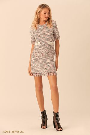 Трикотажная юбка с бахромой по краю