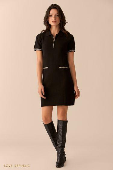 Платье чёрного цвета с отложным воротником и молнией 0151632552