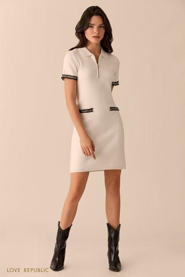 Платье молочного цвета с отложным воротником и молнией 0151632552