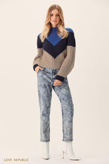 Трёхцветный свитер фактурной вязки 0151635854