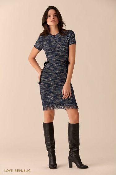Платье с синим  принтом и лентами на талии 01516360560