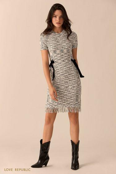 Платье с чёрно-белым принтом и лентами на талии 01516360560
