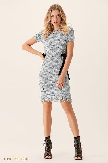 Платье фактурного плетения с бахромой 0151636560