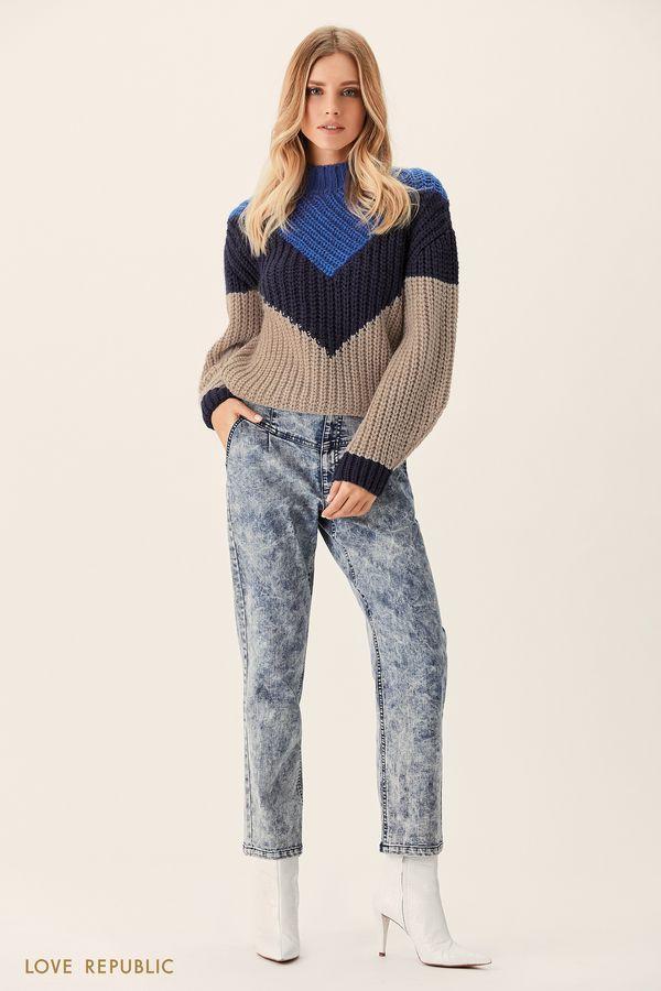 Трёхцветный свитер фактурной вязки 0151635854-40