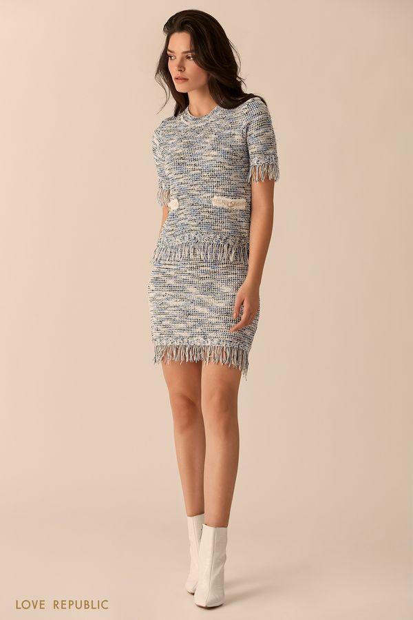 Короткая трикотажная юбка с бахромой 0151636233-42
